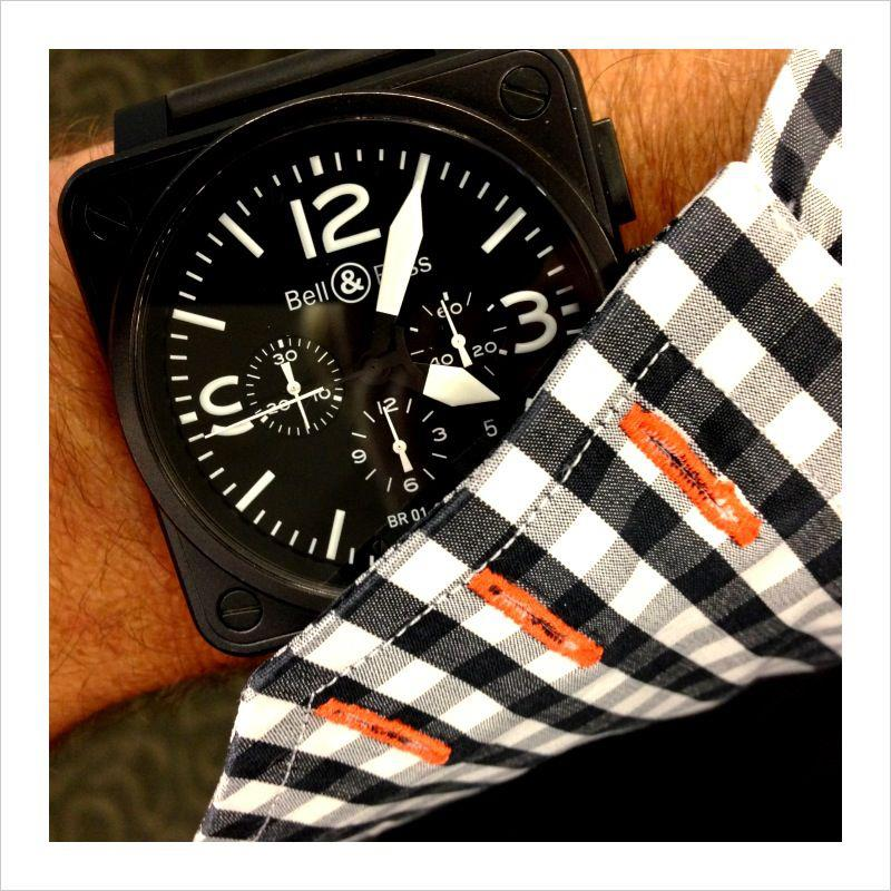 Bell & Ross with Imperial Black luxury men's shirt made in Italy