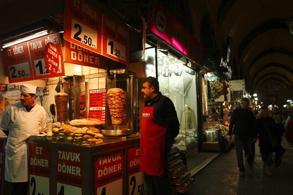 Doner Kebab Stall In Istanbul, Turkey -